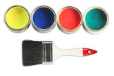 four paint cans and paint brush