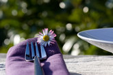 place setting with daisies
