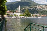 the place cernobbio with boat harbor on lake como,italy