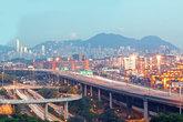 Hong Kong Bridge of transportation ,container pier.