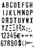 font - alphabet and numbers - vector