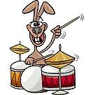 bunny playing drums cartoon illustration