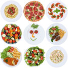 dishes food collection with pizza,salad,spaghetti,pasta and meat