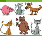 animals sketch cartoon set illustration