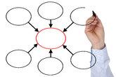 Businessman with blank diagram theme organization,business,education