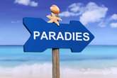Paradise with beach and sea in summer holidays