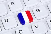 Flag or flag of France on Internet computer keyboard