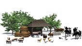 small farm with animals on a white background