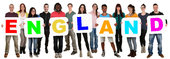 group of young people keep multicultural people word england
