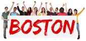 boston sign multicultural group laughing young people people