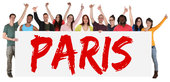 paris sign multicultural group laughing young people people