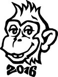2016 - Year of the monkey. Smiling monkey with 2016 bow tie vector illustration