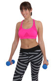 fitness woman doing sports workout holding dumbbells cut
