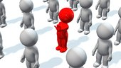 out of the crowd stand out - red 3d people between gray people
