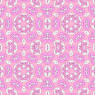 Abstract geometric seamless background. Ornate spiral pattern with various elements in white and violet on pink, delicate and dreamy.