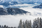Splendid winter alpine scenery with high mountains and trees covered with snow, clouds hanging low in the valley