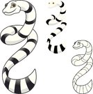 High Quality Sea Snake Cartoon Character Include Flat Design and Line Art Version Vector Illustration