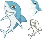 High Quality Shark Cartoon Character Include Flat Design and Line Art Version Vector Illustration