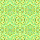 Abstract geometric seamless background. Regular hexagon ornaments mint green with orange elements on lime green. Quiet colors, ornate and extensive.