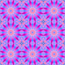Abstract geometric seamless background. Delicate regular floral circle pattern, blossoms in pink, violet, magenta and turquoise blue shades, ornate and dreamy.