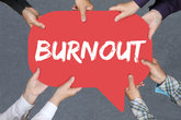 Group people keep burnout sick disease in job stress business concept