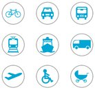9 flat design icons transportation