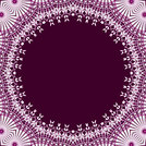 Abstract geometric seamless background. Round purple copy space framed with delicate white lace pattern white and purple, ornate and dreamy.