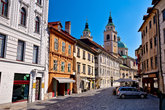 Old town of Ljubljana street and architecture