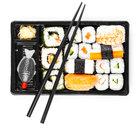 Sushi menu in black transport box