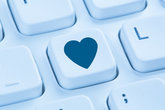 partner love internet dating online dating dating heart blue computer keyboard