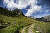 alpine landscape at muehlbach on the hochkoenig in summer