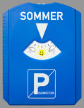 a parking disc with text summer and pisswetter isolated on gray