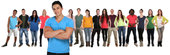 Group of people young young people friends team with intertwined arms freemen
