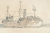 marine landscapes with plants and objects, fishing boats with palm trees