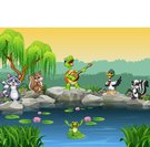 Cartoon happy animals singing collection