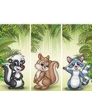 Set of three cartoon small animals