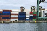 containers maritime transportation dock port of Santos Brazil