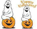 Ghost on Pumpkin Cute halloween art