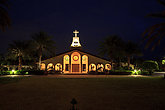 St. John's Episcopal Church with beautiful stained glass windows at night. Editorial use.