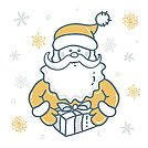 Portrait of Santa Claus with gift the background of snowflakes in gold - silver tones