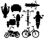 Vector illustration silhouette different transport facilities on white
