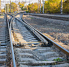 Railway rails for the movement of trains.