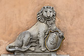 Old Town Market Place, decorative facade of tenement houses, stone lion, Warsaw, Poland