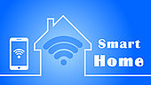 smart home concept - 3D illustration - isolated on blue background