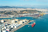 Aerial photography from Zona Franca - Port, the industrial port of Barcelona